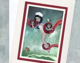 Sailor Girl Greeting Card - Sailor Girl & Tentacles - A5 Greeting Card - A Distraction