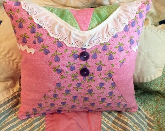 Girls Room Pillow Decor, Handmade, Looks Like a Pink and Purple Dress, Charming Rustic Cottage Farmhouse Small Accent Pillow, Ready to Ship