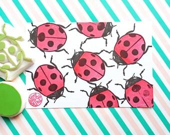 ladybird stamp, ladybug stamp, insect stamp, woodland bug hand carved stamps, baby shower crafts, birthday scrapbooking, set of 2, medium