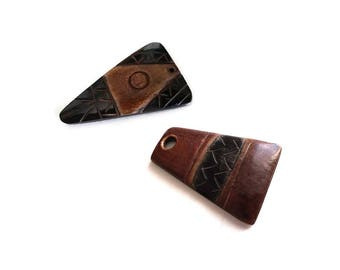 "Aztec carved brown and black horn pendant 45mm (1 3/4"")"