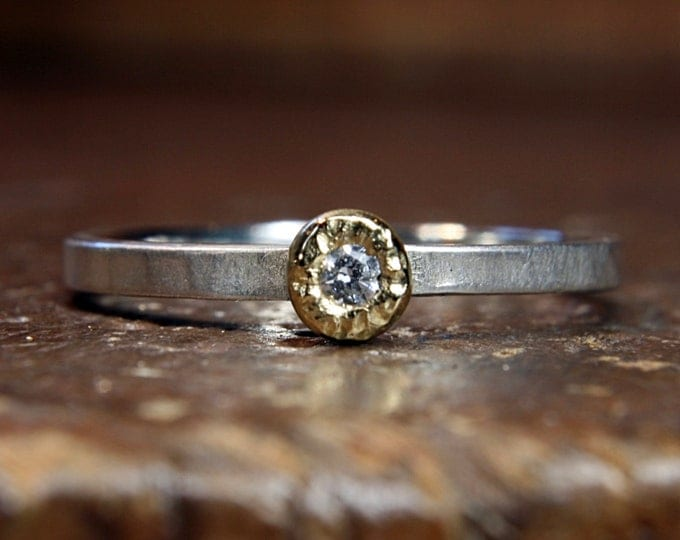 Pebble engagement ring. Recycled silver, gold, moissanite. Handmade in the UK