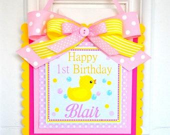 Rubber Ducky Door Sign, Welcome Door Hanger, Rubber Ducky Birthday, Rubber Ducky Baby Shower Decorations, 1st Birthday Party