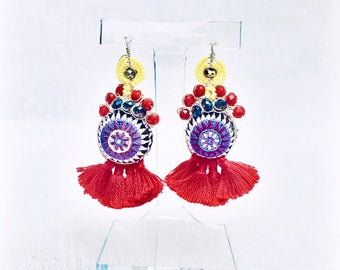 Fringe, Textile and Beaded Earrings (Super Lightweight!)- Ses Salines