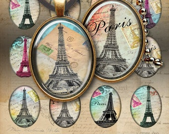 Oval 30x40 mm Images PARIS IN My HEART Digital Collage Sheet Printable Download for pendants bezel cabs magnets scrapbooking paper craft