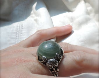 owl ring sterling silver green stone owl ring