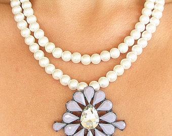 Bridal Necklace Statement Necklace Bridal Jewelry Wedding Necklace Rhinestone Necklace Bridesmaid Gift by Zafirenia