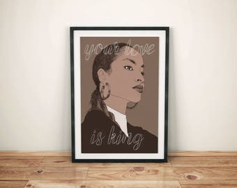 Sade A3 Poster // 80s band, romantic gift, song lyric art print, Sade portrait drawing, pop art wall decor, anniversary gift, fan art
