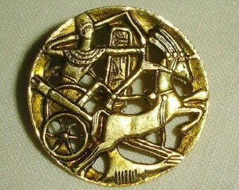 Old Picture Button - Pierced Brass Button with Egyptian Chariot - one piece stamped Brass