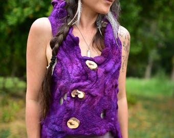 Nuno Felted Pixie Woodland Vest-Wool Vest-Fairy Top-Woodland Costume-Fairy Top-Wild Natural Clothing-Festival Wear-Fairy Costume OOAK