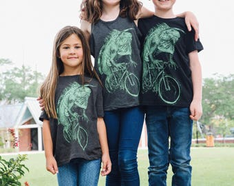 Iguana on a Bicycle- Kids T Shirt, Children Tee, Handmade graphic tee, sizes 2-12