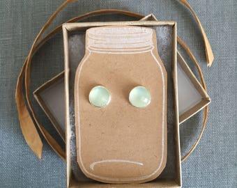 Prehnite Earrings - Silver Prehnite Earrings - Rose Cut Prehnite - Green Earrings - Luminescent - Gemstone Earrings - Genuine Prehnite