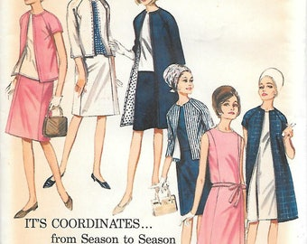 Butterick 3906 UNCUT 1960s Sleeveless Dress Blouse Skirt and Lined Jacket or Coat Vintage Sewing Pattern Size 14 Bust 34