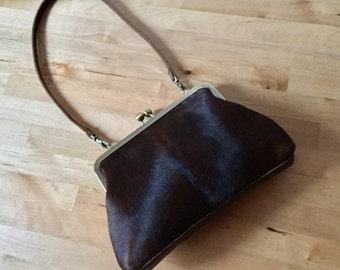 Brown cowhide clutch with strap, Small leather bag, antique gold frame, hair on hide bag, fur bag
