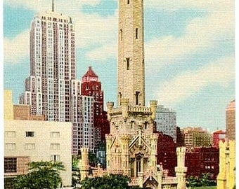 Vintage Chicago Postcard - Chicago Water Tower and Palmolive Building (Unused)