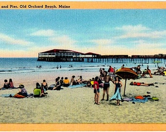 Vintage Maine Postcard - Beachgoers at Old Orchard Beach (Unused)