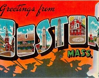 Vintage Massachusetts Postcard - Greetings from Boston (Unused)