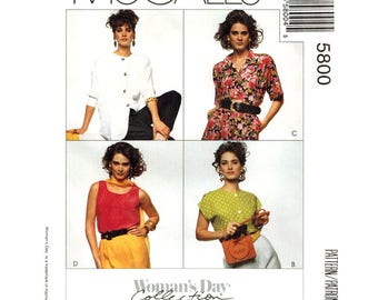 Loose Blouse & Top Pattern McCalls 5800 Tank Top Collarless Blouse Womens Sewing Pattern Size 10 12 14 UNCUT