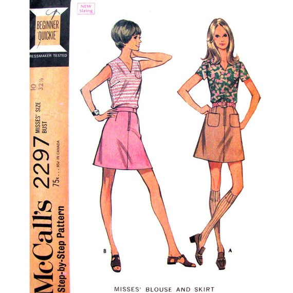 70s Blouse, Mini Skirt Pattern McCalls 2297 Womens Bust 34 Easy Sewing Pattern