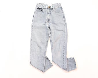 Guess Jeans Tight Fit Tapered Leg High Waisted Denim Hi Rise Distressed Worn In Faded 90s High Waist 1990s Mom 25x29 Extra Small 25 26 XS