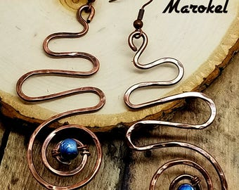 Hammered Copper Wire Coil Earrings Oxidized Metal Minimalist Abstract Blue