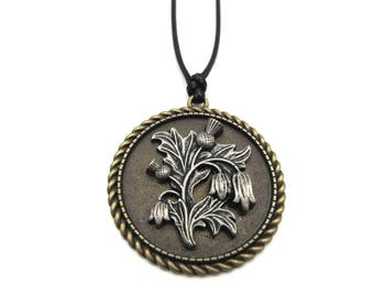 NEW Antique Bronze Pewter Thistle Black Cord Pendant Necklace (BRNK121)