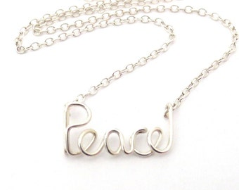 Peace Necklace. Sterling Silver Peace Urban Chic City Necklace by Aziza Jewelry