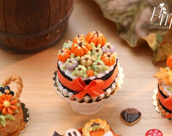 MTO-Miniature Cake Decorated with Coloured Pumpkins (Violet, Green Orange) - 12th Scale Miniature Food