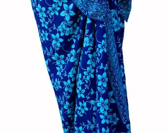 Hawaiian Beach Sarong Skirt Batik Pareo Women's Clothing Wrap Skirt Beach Skirt - Cobalt Blue & Turquoise Plumerias Batik Sarong Cover Up