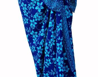 Plumeria Beach Sarong Skirt Batik Pareo Women's Clothing Wrap Skirt Beach Skirt or Dress - Cobalt Blue & Turquoise Batik Sarong Cover Up