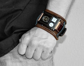 Mens gift - Gifts for him - Men watch - Mens wrist watch - Leather watch - Mens wrist watch - Leather cuff - Unisex wrist watch - Big watch