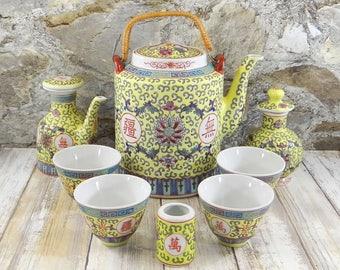Vintage Mun Shou Longevity Chinese Tea Set