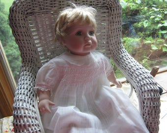 Vintage White Toddler/Doll's Dress. Pink Smocking. Lace Edged Collar and Sleeves. No6