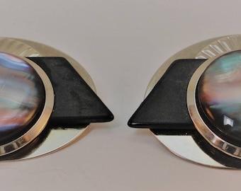 60s  Art Deco Style Silver/Black Lucite Button Clip Earrings