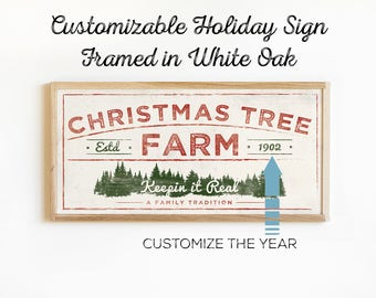 Christmas Tree Farm Sign - Wood Framed Vintage Christmas Art - Country Holiday Decor