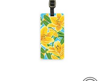 Luggage Tag Lily Flower Floral Metal Luggage Tag With Printed Custom Info On Back, Single Tag