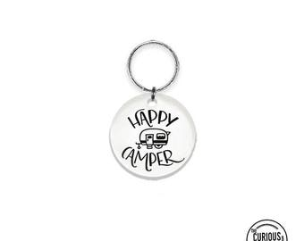 Keychain Happy Camper RV - 2 Inch Round Acrylic Key Chain