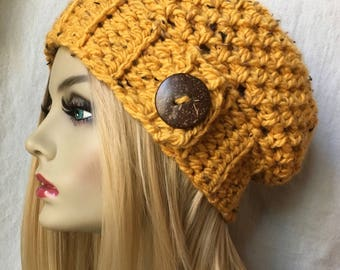READY TO SHIP Medium Womens Hat, Slouchy Beret, Honey Yellow, Specks, Chunky, Coconut Button, Ski Hat, Christmas Gifts for Her JE26SB2