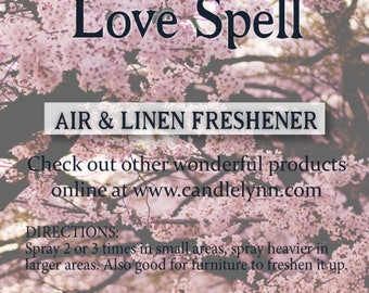 Fragrance Spray - LOVE SPELL  - 8 oz  Bath & Home