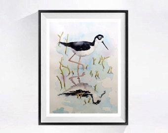 Shore Bird Painting Original Beach landscape Watercolor coastal bird Watercolour Black and white wall art painting Seashore art 14 x 10in.