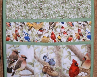 Quilted Armchair Caddy, Bedside Caddy, Birds, Cedar Waxwing, Mourning Dove, Northern Cardinal