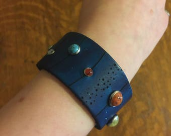 Solar System Leather Cuff Bracelet