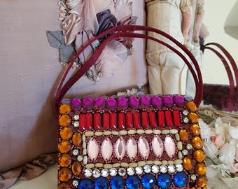 beaded evening purse, rhinestone bag, beaded box bag, stunning big rhinestones, diamantes