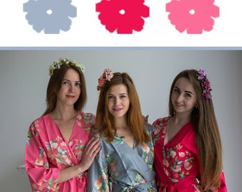 Watermelon Pink, Fuchsia Pink and Gray Wedding Color Bridesmaids Robes - Premium Soft Rayon - Wider Belt and Lapels - Wider Kimono sleeves