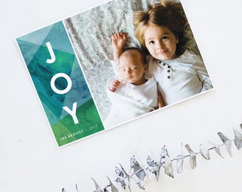 Joy Holiday Cards, Christmas Cards, Elegant, Simple, Photography, Custom Photo Card, Green,Modern, Personalized, Holidays - Joy Holiday Card