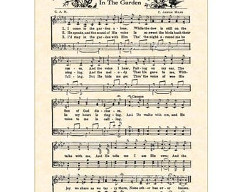 IN THE GARDEN Hymn Wall Art Christian Home & Office Decor Vintage Verses Sheet Music Wall Art 5x7 Inspirational Wall Art Birds Flowers Sale