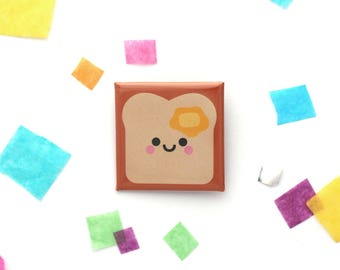 Buttered Toast Badge, Foodie Gift, Square 38mm Button Badge, Kawaii Present, Happy Bread