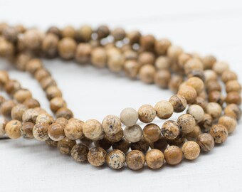 Natural  Gemstone Beads, Picture Jasper  Gemstone Beads, 6mm, 15 Inch Strand, 60pcs,  Round Stone Beads -P978