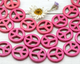 Peace Sign Beads, Howlite Beads, 25mm, 16pcs,  Peace Symbol, Peace Beads -B194
