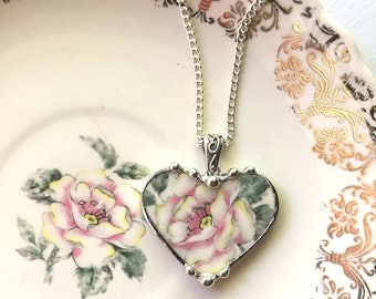 Broken China Jewelry - heart shaped pendant necklace - fluffy rose - antique pink and white rose - recycled china