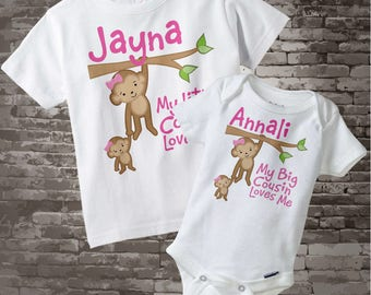 Set of Two My Little Cousin Loves Me and My Big Cousin Loves Me Monkey Girls Set of one tee and one onesie (11052013a)